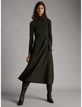 high-neck-dress-with-belt by massimo-dutti