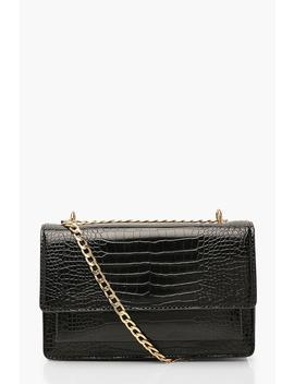 croc-structured-cross-body-&-chain-bag by boohoo