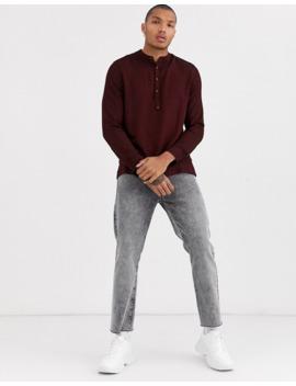 topman-grandad-collar-half-placket-shirt-in-burgundy by topman