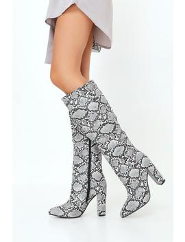 grey-snake-print-mid-calf-boots by i-saw-it-first