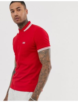 boss-athleisure-paddy-tipped-polo-in-red by boss