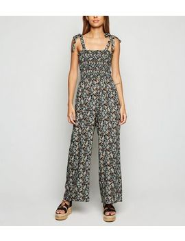 black-floral-shirred-tie-strap-jumpsuit by new-look