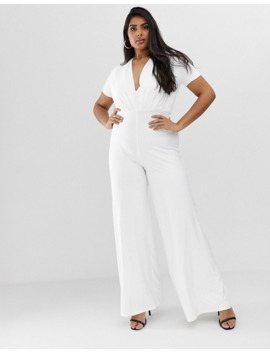 koco-&-k-plus-soft-touch-wide-leg-jumpsuit-in-white by asos