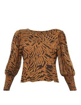 smocked-cuff-tiger-print-crepe-blouse by ganni