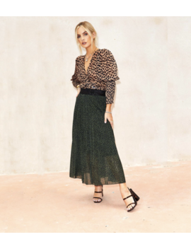 Green Cheetah Pleated Skirt by Never Fully Dressed