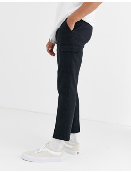 asos-design-skinny-crop-smart-trousers-with-cargo-pockets-in-black-and-blue-cross-hatch by asos-design