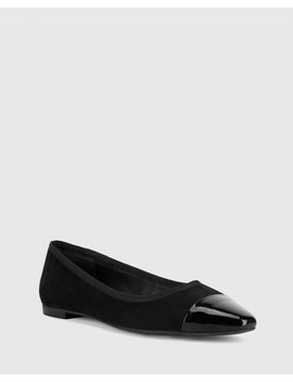Ellie Black Suede/Patent Leather Flat Snib Toe Casual Shoe by Wittner