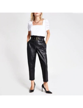 petite-faux-leather-paperbag-waist-trousers by river-island