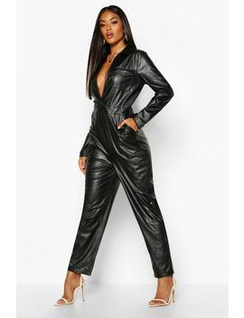 leather-look-pocket-detail-boiler-suit by boohoo