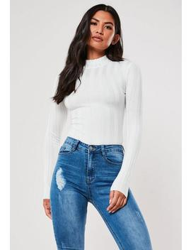 white-extreme-ribbed-high-neck-bodysuit by missguided