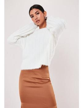 white-fluffy-ribbed-crew-neck-jumper by missguided
