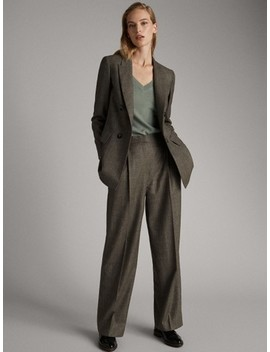 straight-fit-check-wool-trousers by massimo-dutti