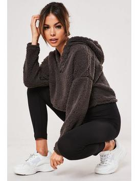grey-teddy-borg-cropped-v-front-hoodie by missguided