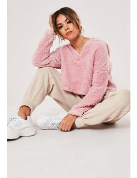 pink-teddy-borg-cropped-v-front-hoodie by missguided