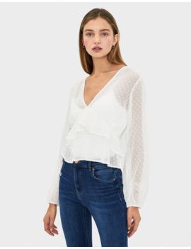 dotted-mesh-blouse-with-ruffles--shirts---women-|-bershka by bershka