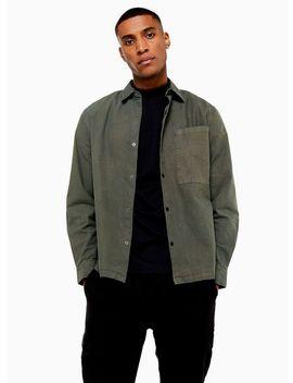 khaki-one-pocket-popper-oversized-shirt by topman