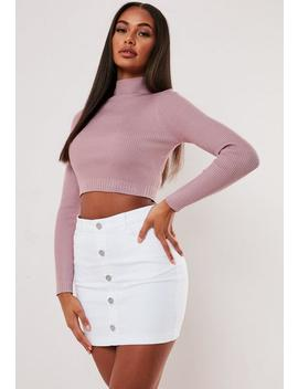 petite-rose-rib-basic-high-neck-knitted-crop-top by missguided