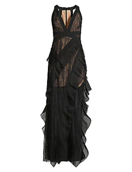 pleated-ruffle-lace-gown by bcbgmaxazria