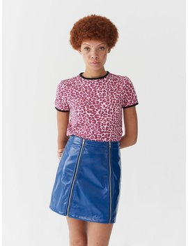 lazy-oaf-pink-leopard-fitted-t-shirt by lazy-oaf