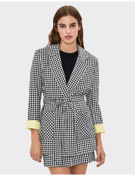 check-blazer-with-tie-belt--jackets---women-|-bershka by bershka