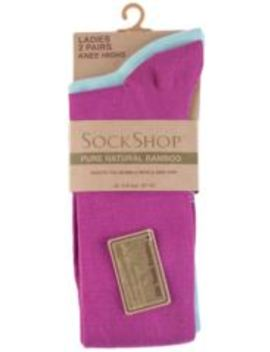 Ladies 2 Pair Sockshop Plain Bamboo Knee High Socks With Smooth Toe Seams by Sock Shop