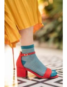 ladies-2-pair-elle-sheer-stripe-bamboo-anklet-socks by sock-shop