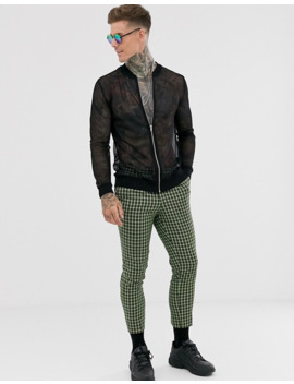 chaqueta-bómber-de-malla-en-negro-de-asos-design by asos-design