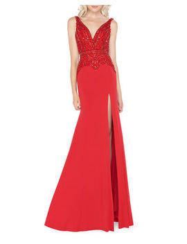 mac-duggal-embellished-jersey-trumpet-gown-with-thigh-slit by mac-duggal