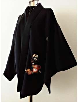 kimono-jacket-haori-for-women-black-kimono-jacket-japanese-haori-jacket-hand-floral-kimono-cardigan-asian-jacket---ja0134vh by etsy