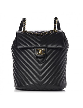chanel-lambskin-chevron-quilted-small-urban-spirit-backpack-black by chanel