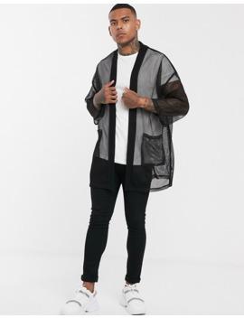 cárdigan-de-malla-estilo-kimono-en-negro-de-asos-design by asos-design