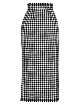 stretch-wool-houndstooth-skirt by dolce-&-gabbana