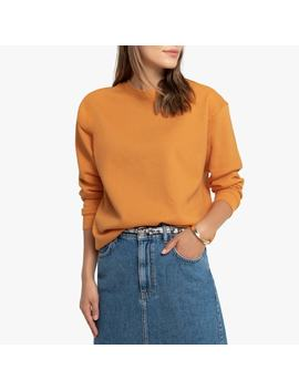 plain-cotton-crew-neck-sweatshirt by la-redoute-collections