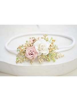 "creamy_white-""alice""-baptism-headband-girl-baptism-creamy-white-on-golden-leaf-headband--baby-flower-headband-baby-crown-baptism-flower-wrap by etsy"
