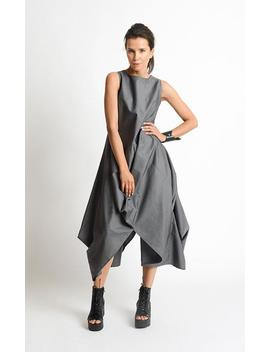 grey-loose-oversize-dress_plus-size-casual-dress_extravagant-tunic-dress_grey-maxi-dress_high-low-tunic-top_sleeveless-asymmetric-kaftan by etsy