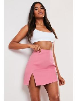 pink-co-ord-double-split-mini-skirt by missguided