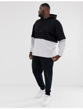 asos-design-plus-oversized-hoodie-with-double-layer-sleeve-and-hem-in-black by asos-design