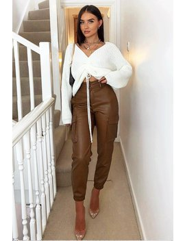 brown-faux-leather-utility-cuff-bottom-trousers---dayna by rebellious-fashion