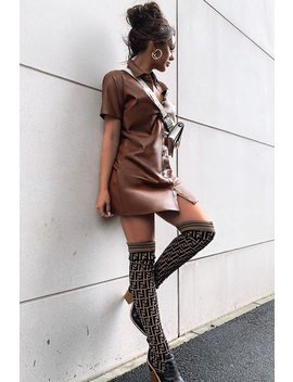 brown-faux-leather-button-up-shirt-dress---alba by rebellious-fashion