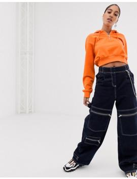 asos-design---cropped-hoodie-met-korte-rits-in-oranje by asos-design