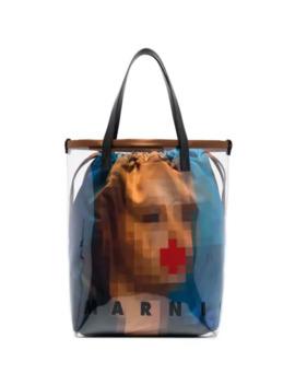 pixel-face-pvc-tote-bag by marni