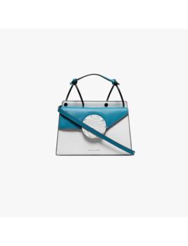 blue-and-white-phoebe-leather-shoulder-bag by danse-lente