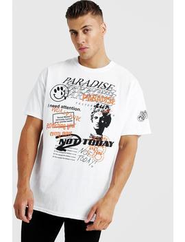 oversized-paradise-print-t-shirt by boohoo