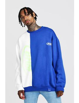 man-oversized-spliced-sweater-with-print by boohoo