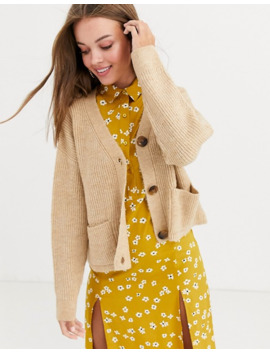 new-look-pocket-detail-cardi-in-camel by new-look