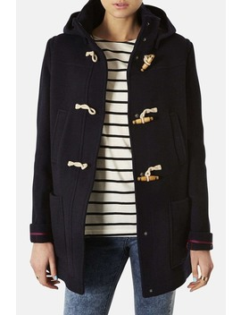 hooded-toggle-duffle-coat by topshop