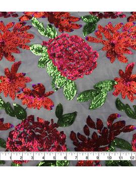 casa-dahlia-mesh-fabric-large-sequin-rose -------- ------------casa-dahlia-mesh-fabric-large-sequin-rose by casa-collection