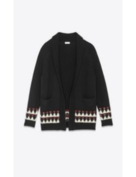 long-wool-cardigan-in-a-graphic-jacquard by saint-laurent