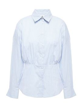 striped-cotton-blend-poplin-shirt by sandro