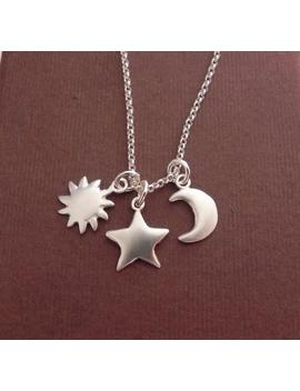 sun,-star-and-crescent-moon-sterling-silver-necklace---you-are-my-universe-necklace by etsy